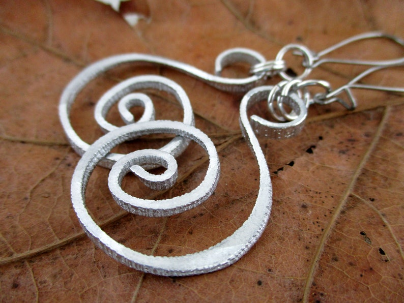 Hammered Spiral Earrings Handmade Lightweight Aluminum with image 0