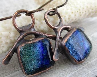 "Sea Shanty Blue Green Dichroic Glass Earrings, Electroformed Copper, Niobium Earwires, 1 1/4"" Drop, Ready To Ship"