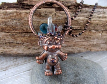 Copper Troll Necklace with Crystal Points and Gemstones, Troll Doll Pendant, Hippie Boho Jewelry, Choose Chain Length