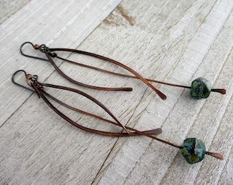 """Wind Catcher Long Dangle Earrings, 4 1/2"""" Shoulder Duster Earrings, Ready To Ship"""