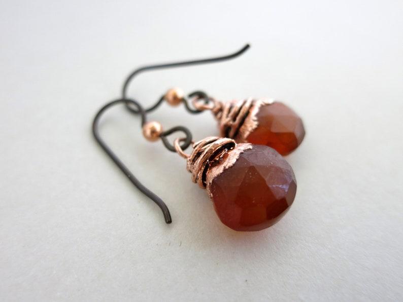 Autumn Chalcedony Drop Earrings Electroformed Copper Niobium image 0
