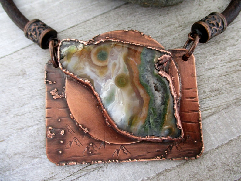 Spirit of the Wolf Necklace Handcrafted Oxidized Copper and image 0