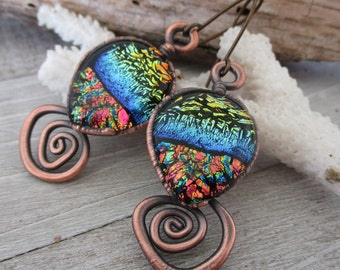 Fireworks Dichroic Glass & Copper Earrings, Niobium Ear Wires, Handcrafted One of a Kind Jewelry, Ready to Ship