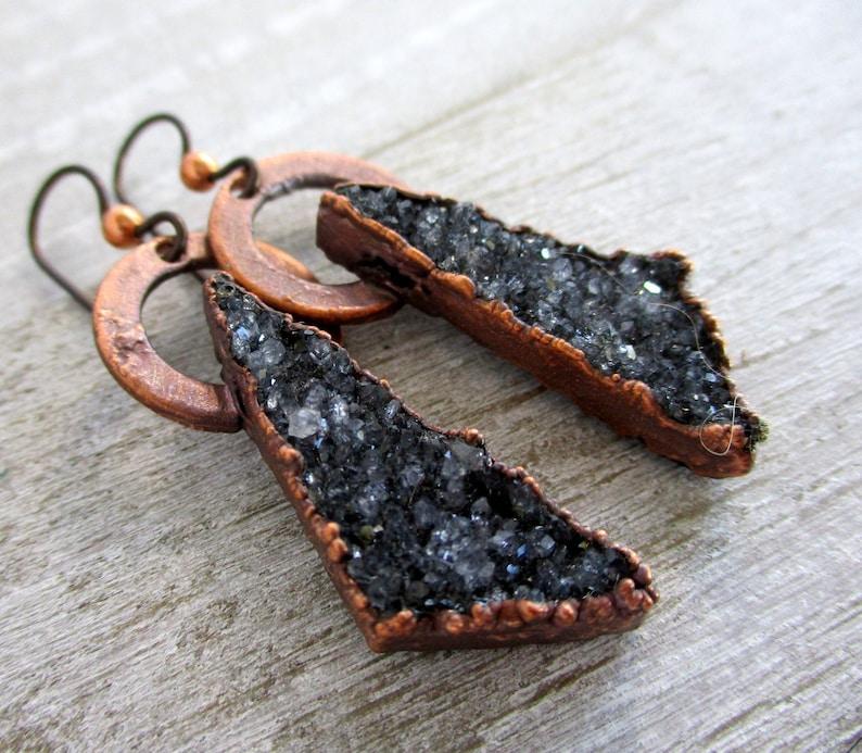 Black Quartz Druzy Earrings Electroformed Copper  Copper image 0