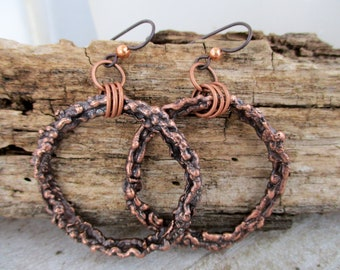 "Rustic Antique Copper Hoop Earrings, 2 1/2"" Long, Niobium Ear Wires, Handcrafted Earrings, Ready to Ship"