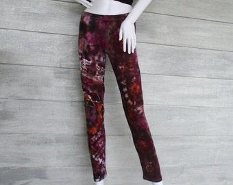 XL Merlot & Caramel Leggings, Cotton/Spandex, Mandala Tie Dye Leggings, Ready To Ship