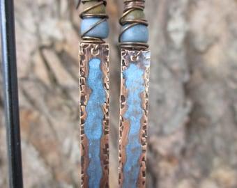 "Antique Copper & Blue Dangle Earrings, 2 1/2"" Long, Allergen Free Niobium Ear Wires, Ready to Ship"