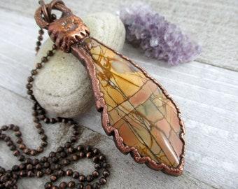 Jasper Feather Necklace, Oxidized Electroform Copper, 78x25mm Heart Pendant, Boho Style Necklace