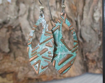 "Verdigris Copper Silver Wash Earrings, Niobium Earwires, 2 1/4"" Drop, Long Dangle Earrings, Ready To Ship"