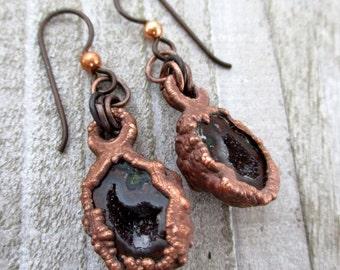 "Tabasco Red Geode Earrings, Electroformed Copper, Mini Geode Halves, Niobium Earwires, 1 3/4"" Drop, Ready To Ship"