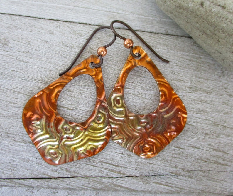 Flame Copper Earrings Niobium Earwires 2 Drop Long image 0