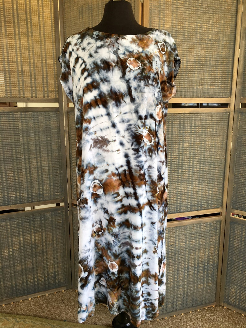 Tie Dyed Long Flowing Dress Gray & Brown Tones on White Ice image 0