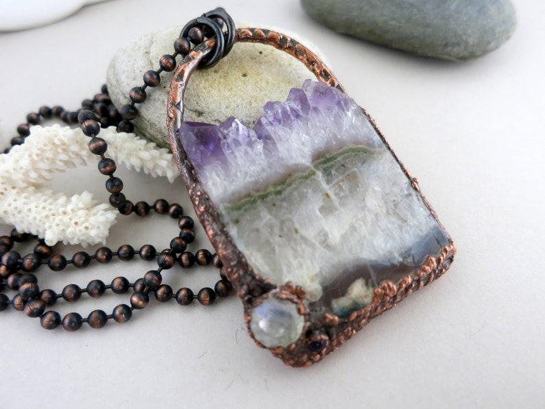Amethyst Crystal Slice & Moonstone Necklace Electroform image 0