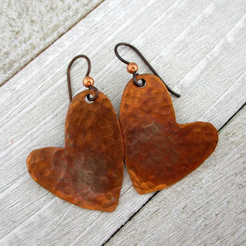 Flame Copper Heart Earrings Niobium Earwires 1 3/4 image 0