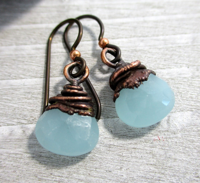 Light Blue Chalcedony Drops Earrings Electroformed Copper image 0
