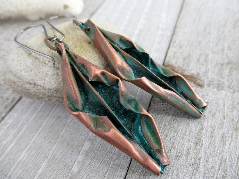 Verdigris Copper Fold Formed Earrings Niobium Earwires image 0