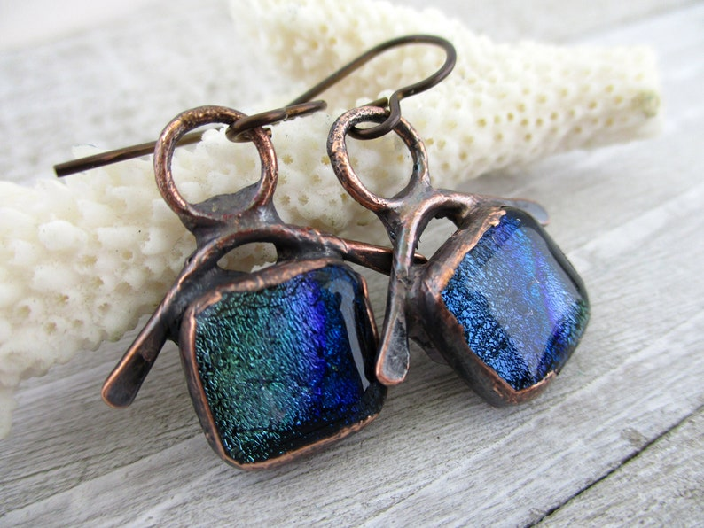 Sea Shanty Blue Green Dichroic Glass Earrings Electroformed image 0