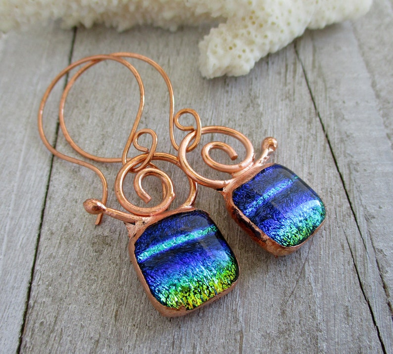 Sea Snail Dichroic Glass Earrings Electroformed Copper image 0