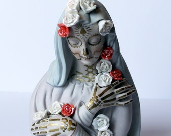 Upcycled Day of the Dead Hand Painted Vintage Madonna Figurine with Blue Veil and Rose