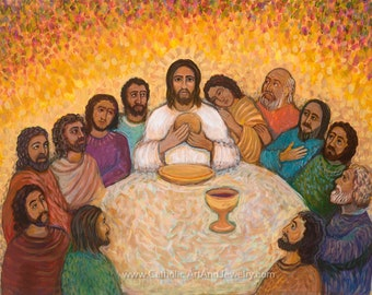 The Last Supper Painting on Canvas Original Catholic Art