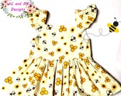 Girls Spring and Summer Bee print Top and yellow Shorts set RTS size 4 Free Shipping USA