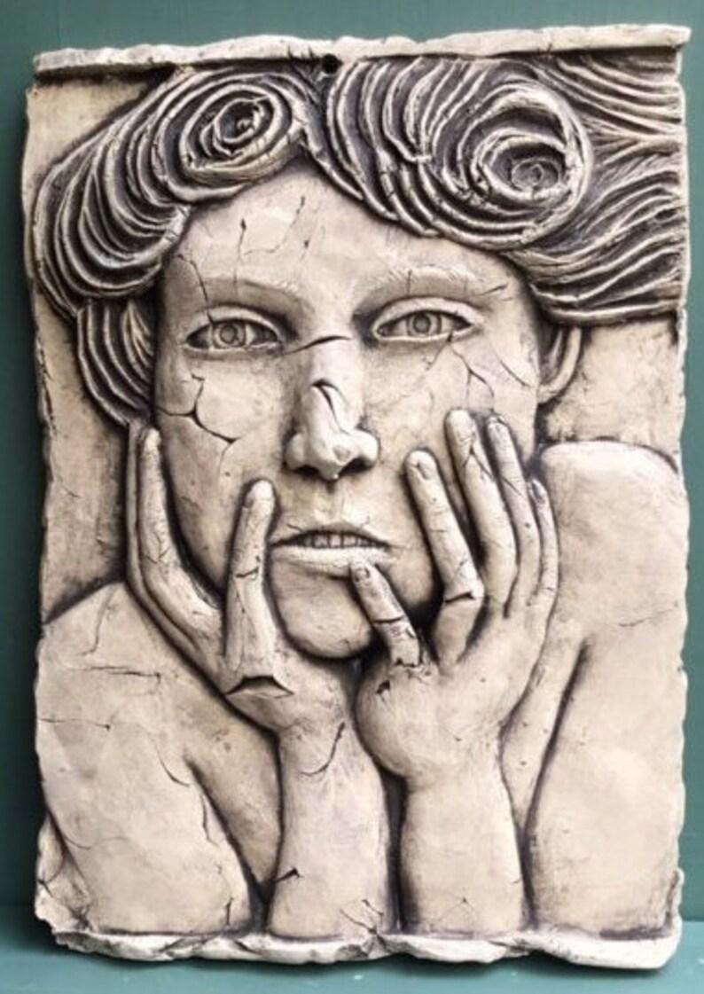 Online shop vintage ceramic relief carving flower basket