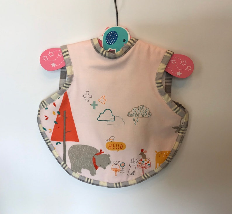 Handmade baby girl bib with woodland animals  toddler girl image 0