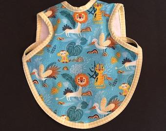 Handmade modern baby bib with fun animals   toddler bapron   gender neutral baby gift   jungle animals bib   terry tie bib   waterproof bib