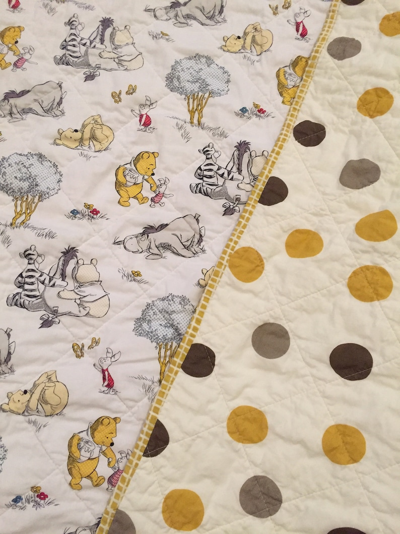 Baby quilts  Winnie the Pooh baby quilt  tummy time quilt  image 0