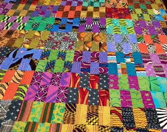 Full size patchwork quilt African fabric   colorful handmade quilt   wedding gift