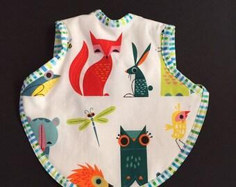 Handmade animal baby bib - toddler bapron- unique baby shower gift