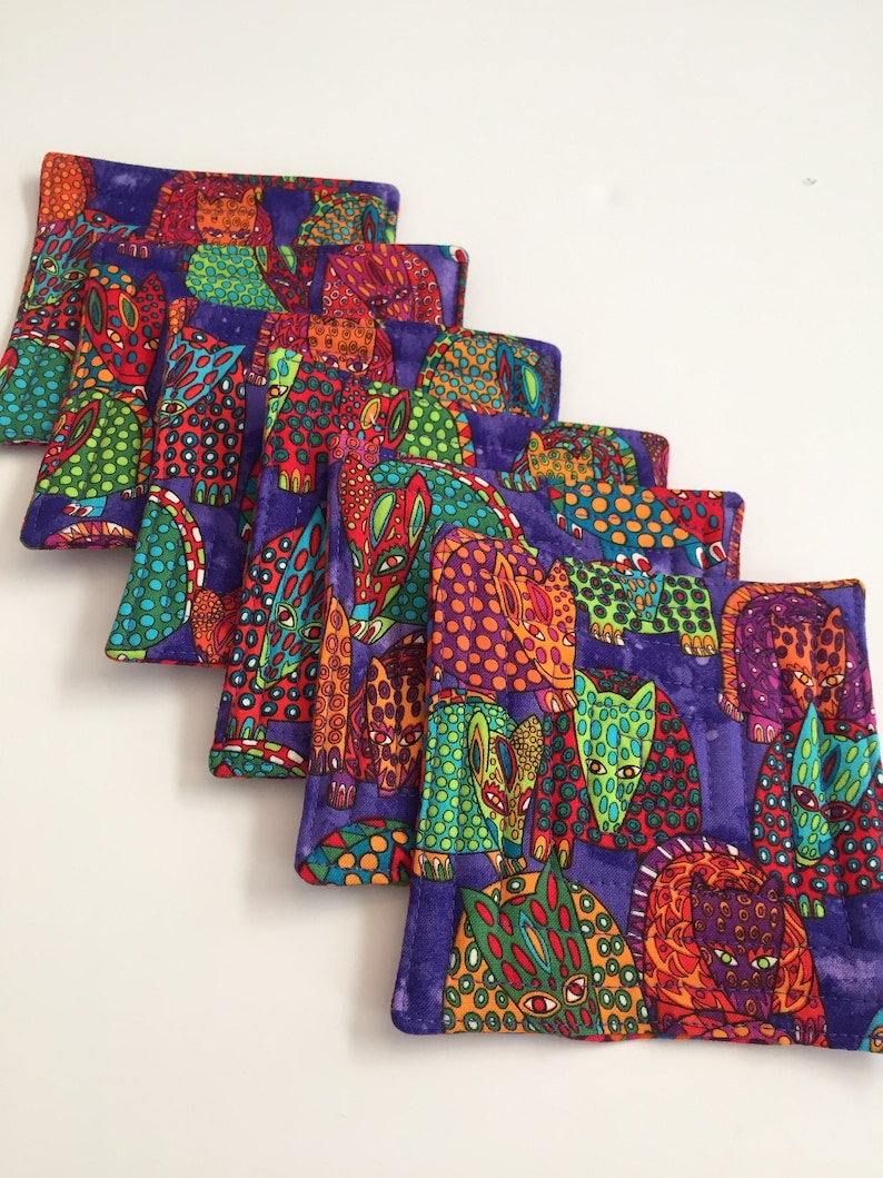 Handmade quilted coaster set  colorful coasters  armadillo image 0