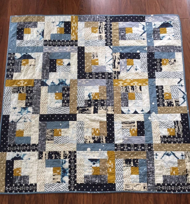 Modern patchwork quilt  handmade quilts  unique graduation image 0