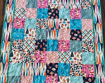 Handmade Christmas quilt   organic Christmas patchwork quilt   baby first Christmas quilt   retro holiday quilt   cloud 9