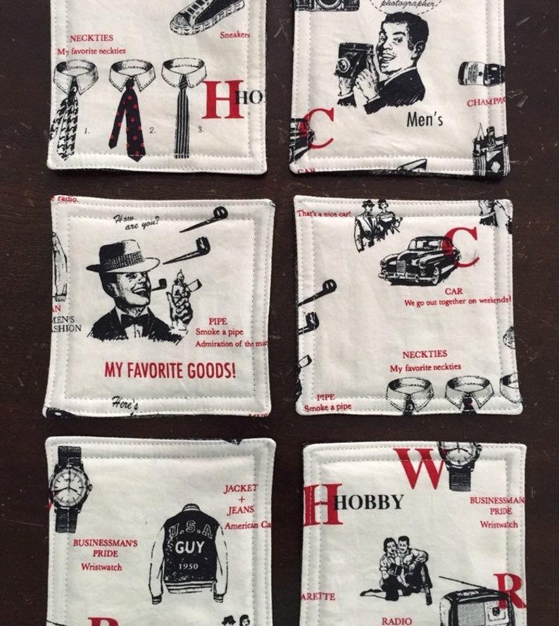 Handmade Fabric Coaster Set Gift For Men Man Birthday Gift Etsy