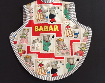Babar toddler bib   baby shower gift   handmade baby gift   Babar fabric   waterproof tie bib   boy bibs   girl bibs