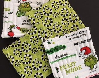Holiday coaster set Grinch   unique holiday gift   hostess gift   holiday gift exchange
