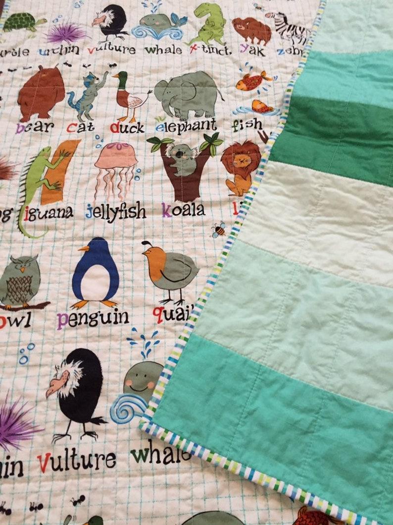 Alphabet handmade quilt  tummy time quilt  toddler quilt  image 0