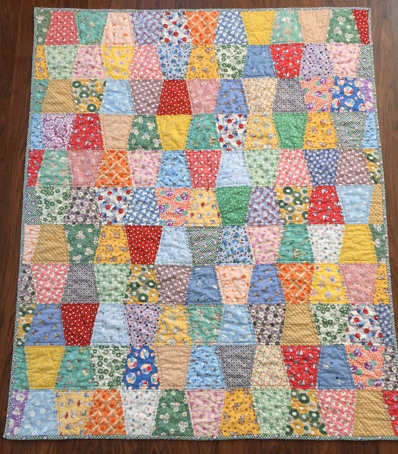 Handmade patchwork baby quilt  unique baby shower gift  image 0