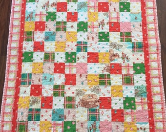 Patchwork Christmas quilt / holiday gift / handmade Christmas gift / baby's first Christmas / heirloom quilt / sugarplum fabric