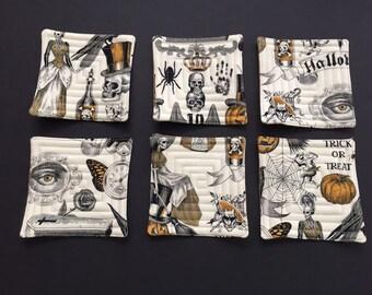 Halloween coasters, coasters, Halloween decor, Halloween fabric,