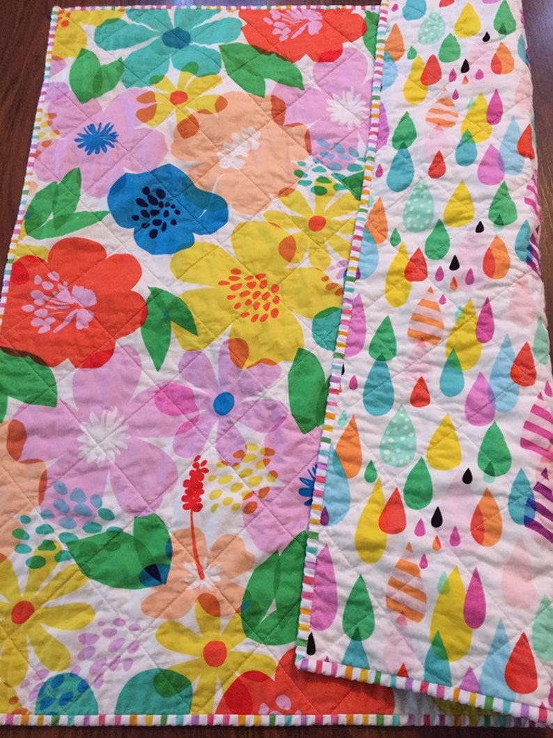 Modern baby quilts  tummy time quilt  toddler handmade quilt image 0