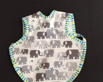 Handmade baby bib with elephants   toddler bapron   animal baby bibs   baby shower gifts   gender neutral gifts