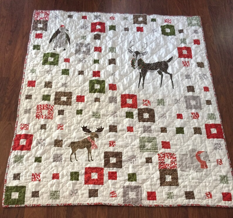 Handmade patchwork holiday quilt  handmade Christmas gift  image 0