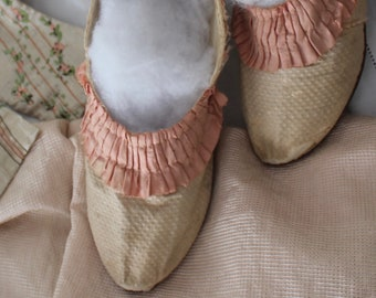 18th c French Silk Shoes with Pink Ruffled Silk Trim~ Provenance