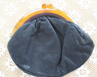 vintage bakelite and leather change purse