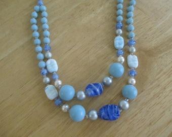 Vintage costume jewelry    / 2 strand  blue milk glass and art glass