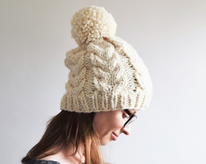 Featured listing image: Cable Knit Hat Pattern