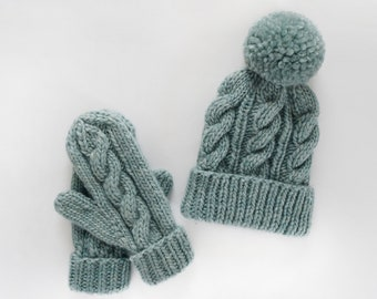 Classic Cabled Hat and Mittens Pattern