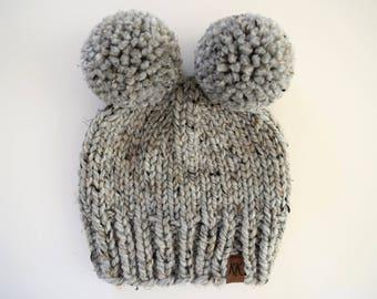 Double Pom Pom Hat // Newborn Pom Pom Hat // Double Pom Pom Beanie // Newborn Photo Prop // Toddler Pom Pom Hat // Grey Hat